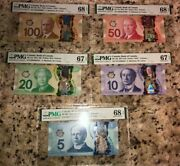 Complete Set Bank Canada 5 10 20 50 100 Polymer Banknotes Pmg Graded 67/68