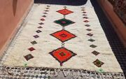 Rug Beni Ourain Moroccan Wool Berber Handmade Carpet Vintage Azilal 110and039 X 82and039