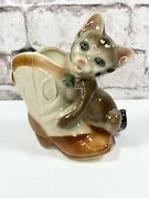 Royal Copley Cat Kitten With Cowboy Boot Planter Vintage