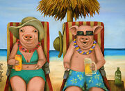 Bacon Shortage Pig Pigs Vacation Beach Hat Beer Necklace Sunglasses Humor Funny