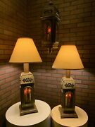 Vintage Mid Century Medieval Spanish Crusaders Stained Glass 3 Piece Lamp Set