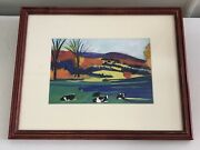 Woody Jackson Andldquodown The Hillandrdquo Original Painting Framed And Signed Vermont Cows