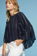 Floreat Anthropologie Emelyn Striped Blouse Top Navy Buttondown S New 217428