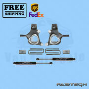 3.5 Lift Spindle W/ Rear Block Kit And Rear Shocks Fabtech For 07-13 Gm C1500 2wd