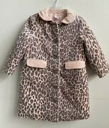 Janie And Jack Girls Velvet Coat Pink Leopard Cotton Winter Fall Size 2t-3t Nwt