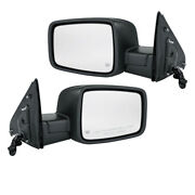 09-12 Ram Truck Mirror Power Heated Black With Turn Signal Puddle Lamp Set Pair