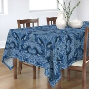 Tablecloth Nautical Damask Pattern Whales Vintage Stars Nature Cotton Sateen