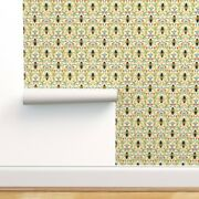 Peel-and-stick Removable Wallpaper Bee Garden Cream Insect Floral Flowers Print