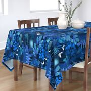 Tablecloth Blue Tropical Rainforest Bright Turquoise Fantasy Cotton Sateen