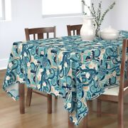 Tablecloth Tropical Colour Turquoise Fish Seahorse Hibiscus Turtle Cotton Sateen