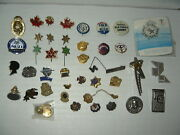 40+ Vintage Gold/silver Militaria-religious-clubs-medical-political Tac Pins Lot