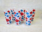 Set 6 Dairy Queen Vintage Tumblers Glasses 6.75 Tom Collins Frosted Red Blue