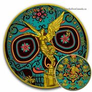2017 2 Oz Silver Mexican Day Of The Dead Libertad Coin With 24k Gold Gilded.