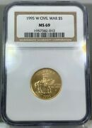 1995 W 5 Gold Civil War Commemorative Coin Ngc Ms69