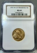 1997 W 5 Gold Franklin D Roosevelt F.d.r. Commemorative Coin Ngc Ms69