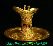 7 Qianlong Marked Antique Chinese 24k Gold Dynasty Palace Wine Glass Cup