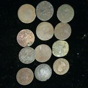12pc Lot 1600s French Colonial Copper Coins Found In Canada Wholesale Lot