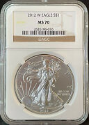 2012-w 1 American Silver Eagle Burnished Ngc Ms70 Brown Label 1 Oz .999