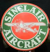 Porcelain Sinclair Aircraft Enamel Sign Size 30 Inches Round