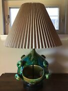 Unique 50's-60's Mcm Atomic Large Ceramic Turquoise And Green Planter Table Lamp