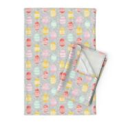 Easter Eggs Eggs Spring Easter Linen Cotton Tea Towels By Roostery Set Of 2