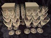 Waterford Crystal Abbington Set Of 36 Goblets, Flutes And Wine Glasses