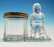 Rare Antique Baseball Player Glass Candy Container Figural Bank Honus Wagner