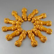 """Twelve Vintage French """"french Poodle"""" Majolica Knife Rests, Dog, Yellow"""