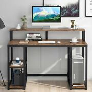 Vintage Computer Pc Desk With Hutch 2 Tier Shelves And Cpu Stand For Home Office