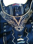 Johnny Was Womenand039s 3x Short Sleeve Embroidered Vneck Shirt Blouse Boho Blue Grey