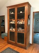 Antique Oak General Store Display Cabinet With Original Wavy Glass