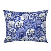 Blue Willow Blue China Chinoiserie Dishes Plates Pillow Sham By Roostery