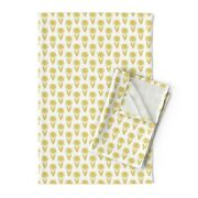 Flower Daisy Gold Mustard Easter Linen Cotton Tea Towels By Roostery Set Of 2