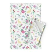 Spring Floral Easter Bunnies Easter Linen Cotton Tea Towels By Roostery Set Of 2