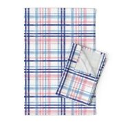 Watercolor Plaid Spring Easter Linen Cotton Tea Towels By Roostery Set Of 2
