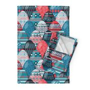 Pysanky Egg Easter Blue Red Holiday Linen Cotton Tea Towels By Roostery Set Of 2