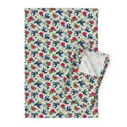Rockabilly Birds Nautical Stars Linen Cotton Tea Towels By Roostery Set Of 2