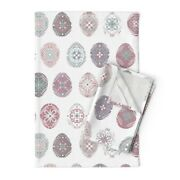 Eggs Easter Purple Pink Blue Linen Cotton Tea Towels By Roostery Set Of 2