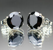 14.00tcw Real Natural Black Diamond Stud Earrings 14k Gold And 8400 Value