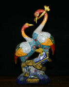 15.2 Old China Cloisonne Enamel Copper Animal 2 Red-crowned Crane Birds Statue