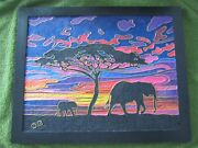 Elephant And Baby Silhouette Sunset Landscape Sand Painting W/ Wire--original