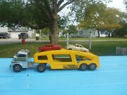 Vintage Structo Car Carrier W/ Ramp 2 Cars 1 Truck