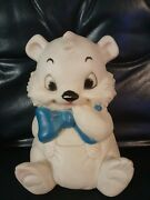 Vintage Sanitoy 7 White Bear Blue Bowtie Rubbef Squeaks 1960and039s