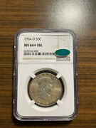 1954-d Franklin Silver Half Dollar 50c Ngc Ms 66+ Full Bell Line Lines Fbl Cac
