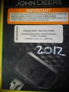 2012 John Deere 2210 Floating Hitch Field Cultivator Predelivery Manual Diagrams