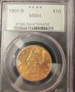 1901-s 10 Liberty Gold Eagle Pcgs Ms-64 Old Green Holder - Pretty Color Pq++