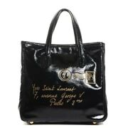 Yves Saint Laurent Black Patent Leather Y Mail Tote Bag