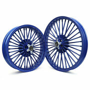 Blue 21and039and039x18and039and039 Front Rear Wheels For Harley Softail Fxst Fxstc Dyna Street Bob