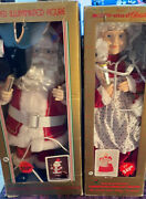 1990 Telco Motion-ettes Of Christmas Animated Santa And Mrs Claus 24 Figures Nib