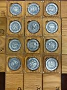 Complete Set Zodiac Signs 12-1oz Antiqued Silver Coins High Relief/wood Boxes